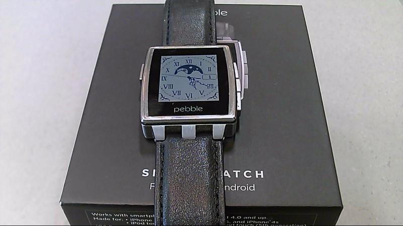 Pebble Steel Smart Watch Black With Leather & Stainless Steel Band