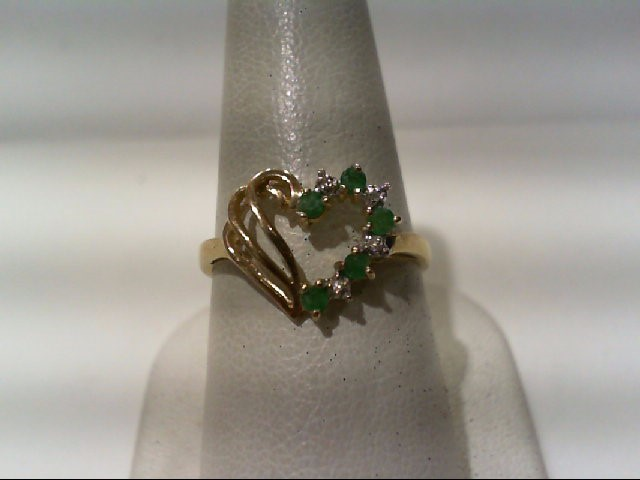 Emerald Lady's Stone & Diamond Ring 4 Diamonds .020 Carat T.W. 10K Yellow Gold