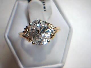 White Stone Lady's Stone Ring 14K Yellow Gold 3.6g Size:7