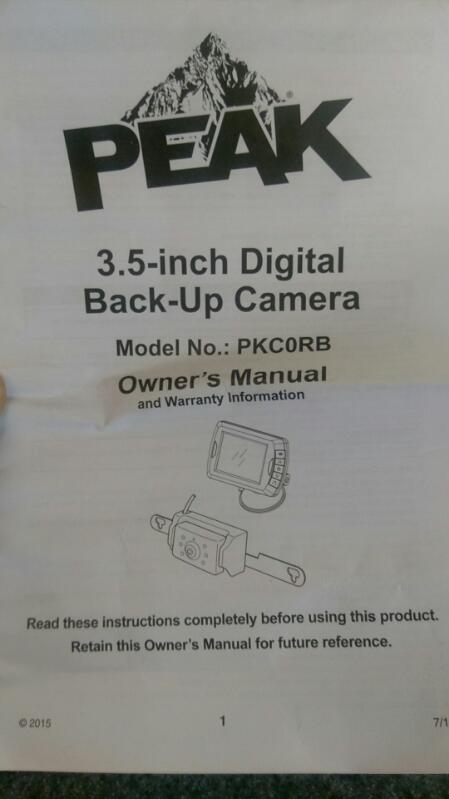 PEAK Digital WIRELESS Back-Up Camera SYSTEM #PKCORB