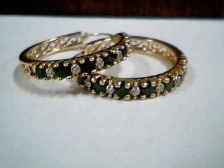 Black Stone Gold-Diamond & Stone Earrings 12 Diamonds .36 Carat T.W.