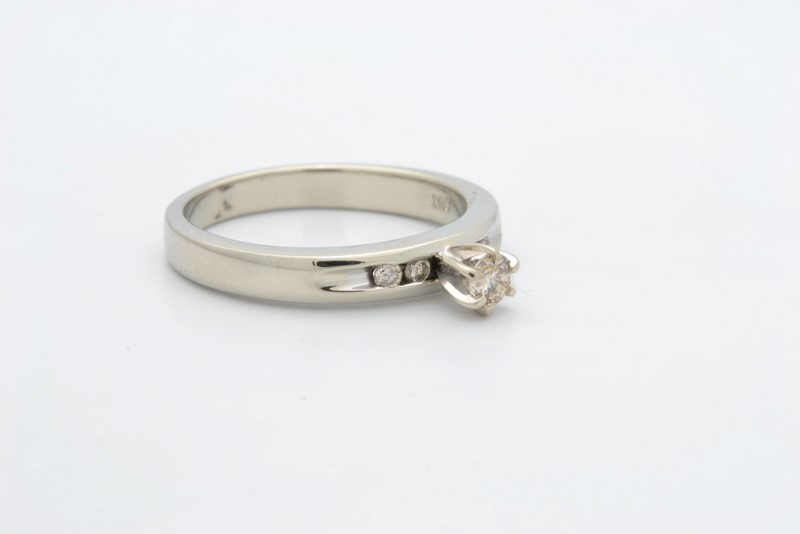 ESTATE DIAMOND RING SOLID 14K WHITE GOLD ENGAGEMENT WEDDING SZ 7.5