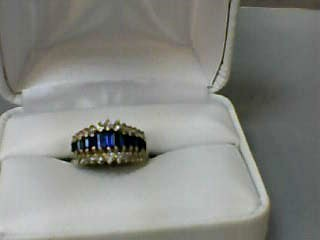 Synthetic Sapphire Lady's Stone & Diamond Ring 26 Diamonds .34 Carat T.W.