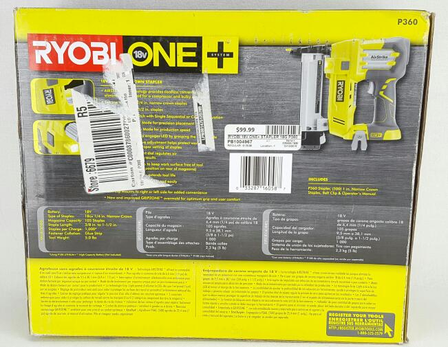 RYOBI Stapler 18v ONE+ 18g Cordless Narrow Crown Stapler P360