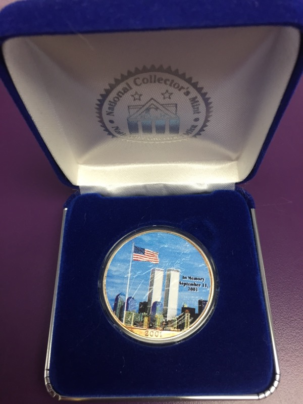 National Collector's Mint September 11th 9/11 Commemorative Painted Silver Coin