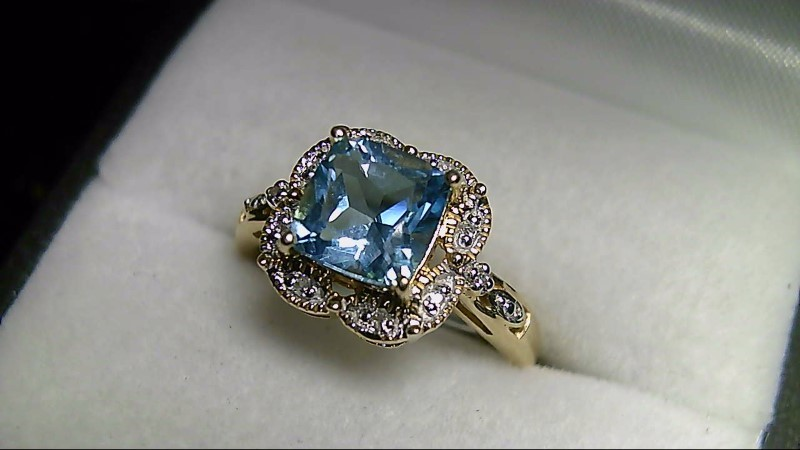 Sky Blue Topaz Lady's Stone & Diamond Ring 10 Diamonds .10 Carat T.W.