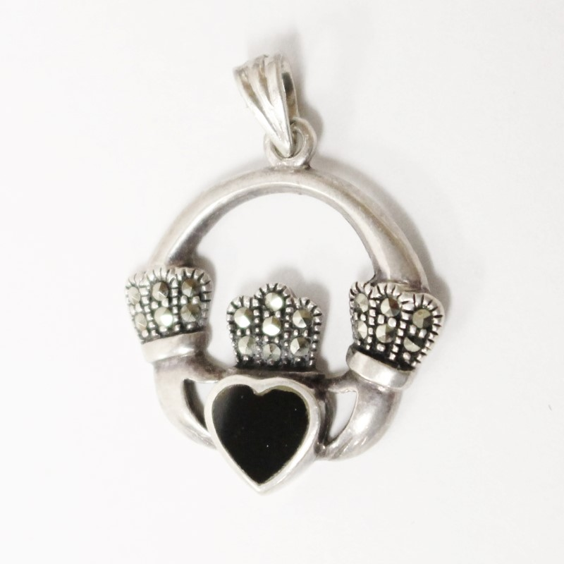 """CLADDAGH MARCASITE PENDANT IN STERLING SILVER, MEASURES 1"""""""