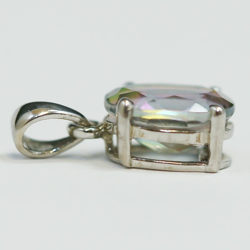 Sterling Silver Oval Cut Mystic Topaz Charm/Pendant