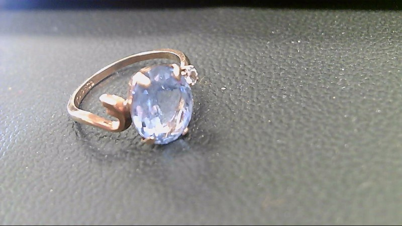 Blue Stone Lady's Stone Ring 10K Yellow Gold 1.9g