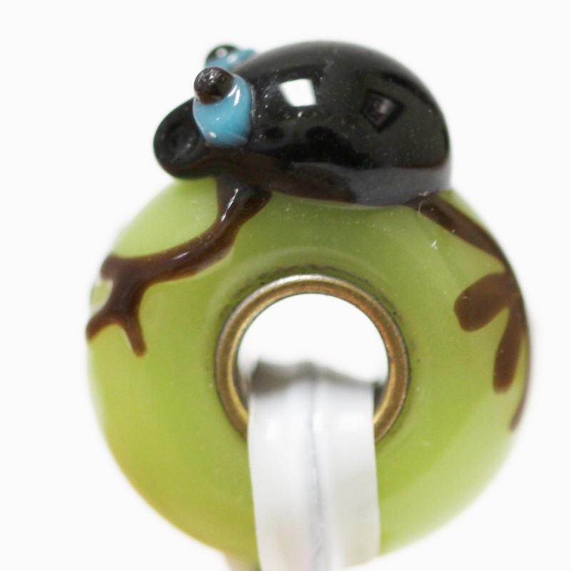 Sterling Silver Frog On A Green Stone Charm