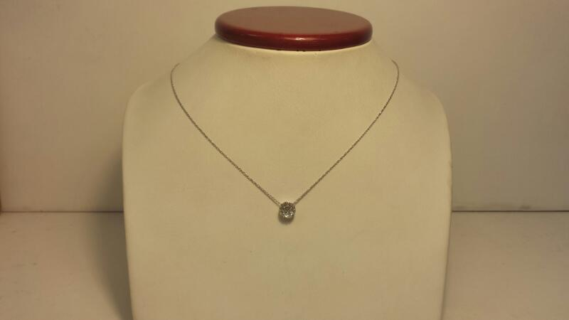 14k White Gold Necklace & Round Pendant with 19 Diamonds at .19ctw - 1dwt