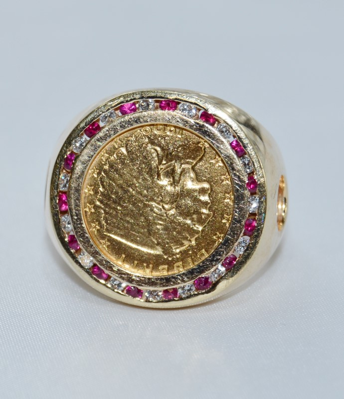 1909 Indian Head Gold Quarter 1/4 Eagle Gold Coin Ruby & Diamond 14K Ring sz 14