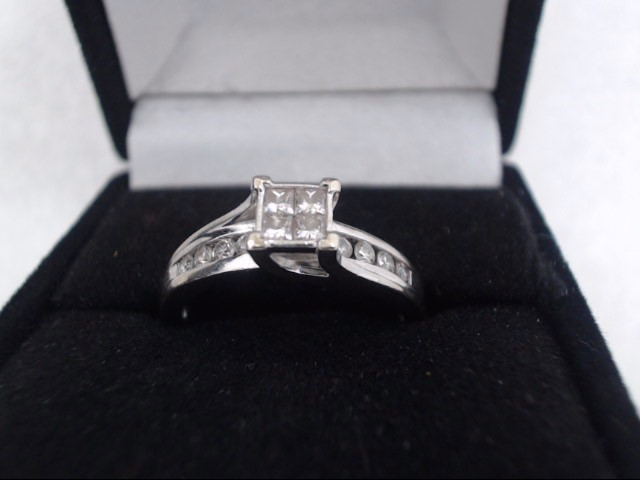 wmns Diamond Cluster Ring 14 Diamonds 1.02 Carat T.W. 14K White Gold 3.3g