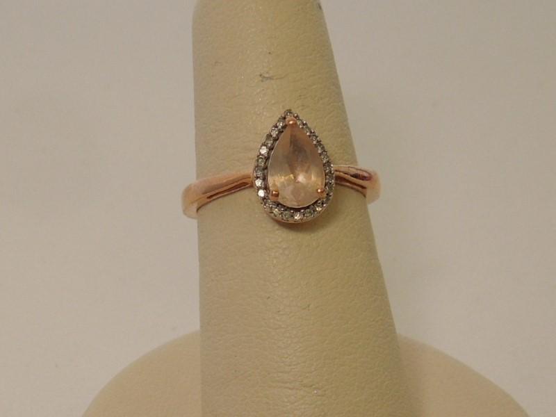 Pink Stone Lady's Stone & Diamond Ring 25 Diamonds .25 Carat T.W. 10K Rose Gold