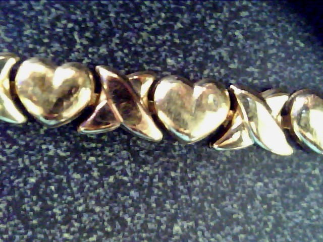 L'S 10KT Gold Link Bracelet X 2 X AND HEARTS 10K Yellow Gold 3dwt