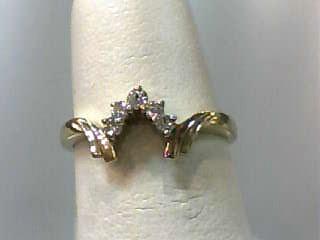 Lady's Gold-Diamond Ring Guard 5 Diamonds .05 Carat T.W. 10K Yellow Gold 1.1dwt