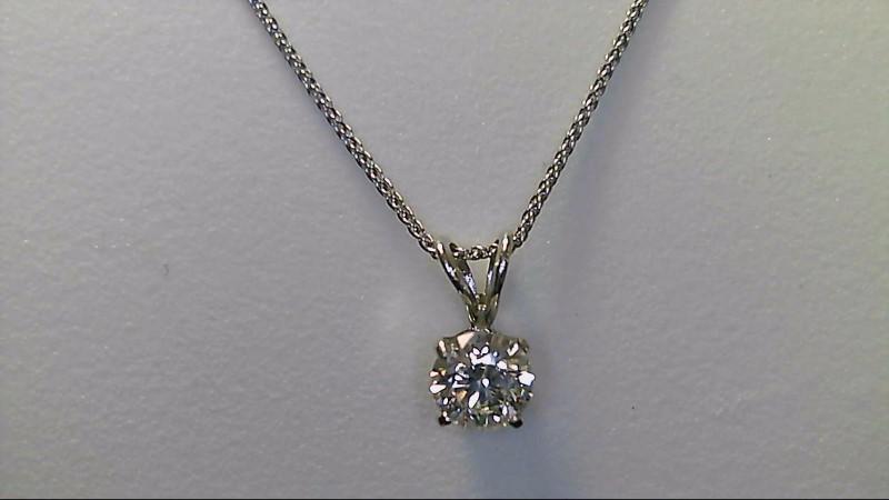 "LADY'S 14K WHT GOLD 1/2CT ROUND DIAMOND NECKLACE 18"" 1.2G"