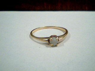 Synthetic Moonstone Lady's Stone Ring 10K Yellow Gold 1.24g Size:7.5