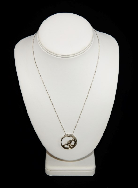 """Sterling Silver and Diamond Hearts Entwined Circle Pendant on 18"""" Box Chain"""