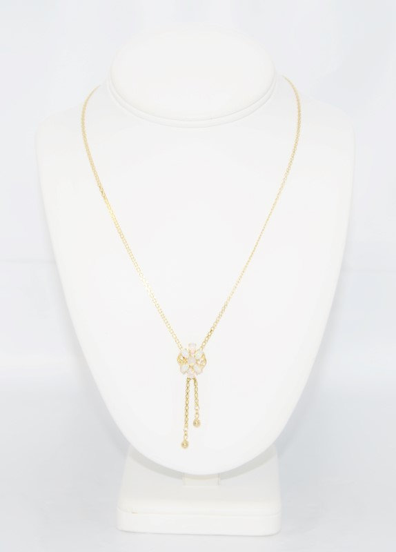 """16"""" 14k Yellow Gold Flower Opal Cluster Lariat Necklace"""
