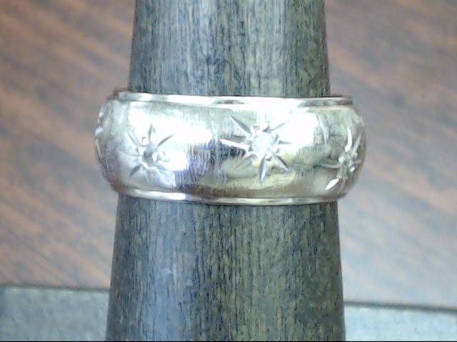 ESTATE DIAMOND WEDDING RING BAND SOLID REAL 14K WHITE GOLD SIZE 6.25