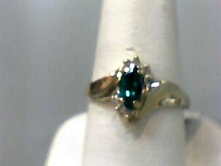 Synthetic Emerald Lady's Stone Ring 10K Yellow Gold 0.8dwt