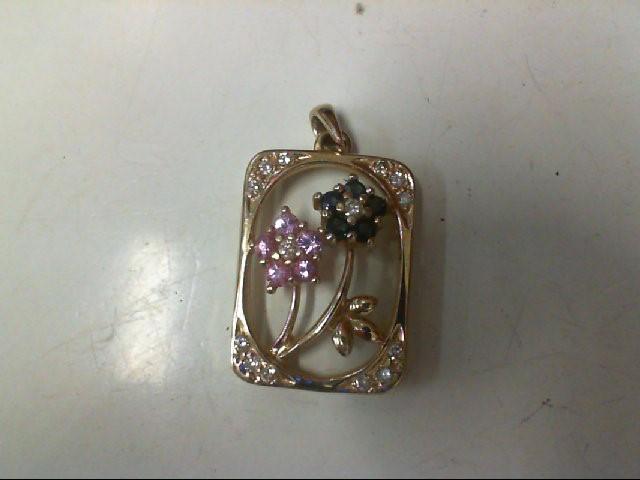 Pink Stone Gold-Diamond & Stone Pendant 14 Diamonds .14 Carat T.W.