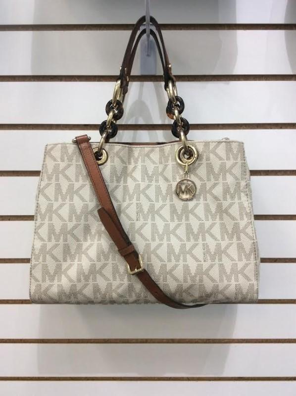 Michael Kors Signature Cynthia Medium Satchel Shoulder Bag Vanilla Chain Handbag