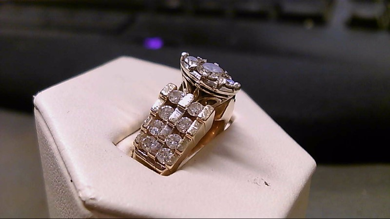 Lady's Diamond Fashion Ring 19 Diamonds 1.71 Carat T.W. 14K Yellow Gold 11.9g