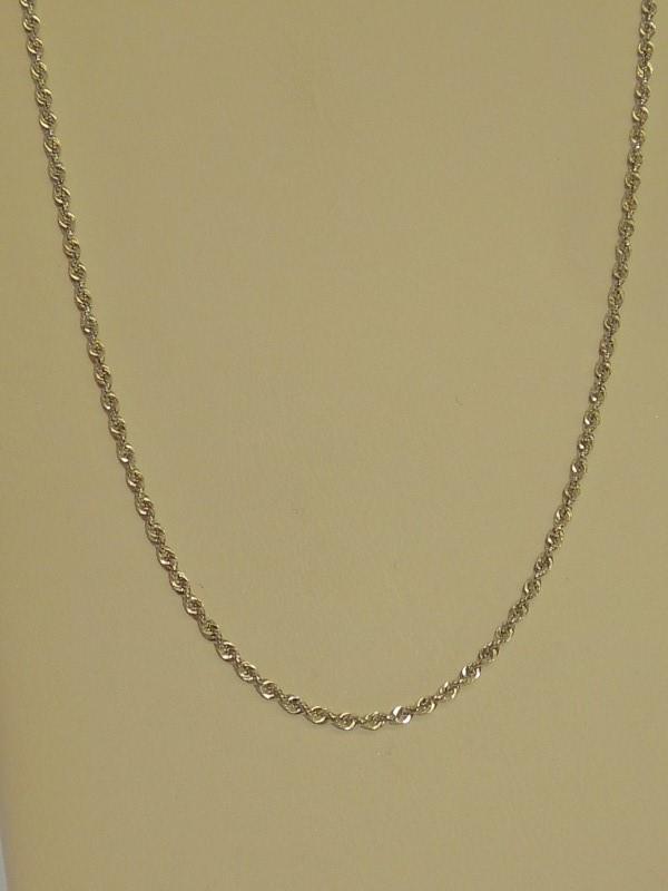 "20"" Gold Rope Chain 10K White Gold 1.6g"