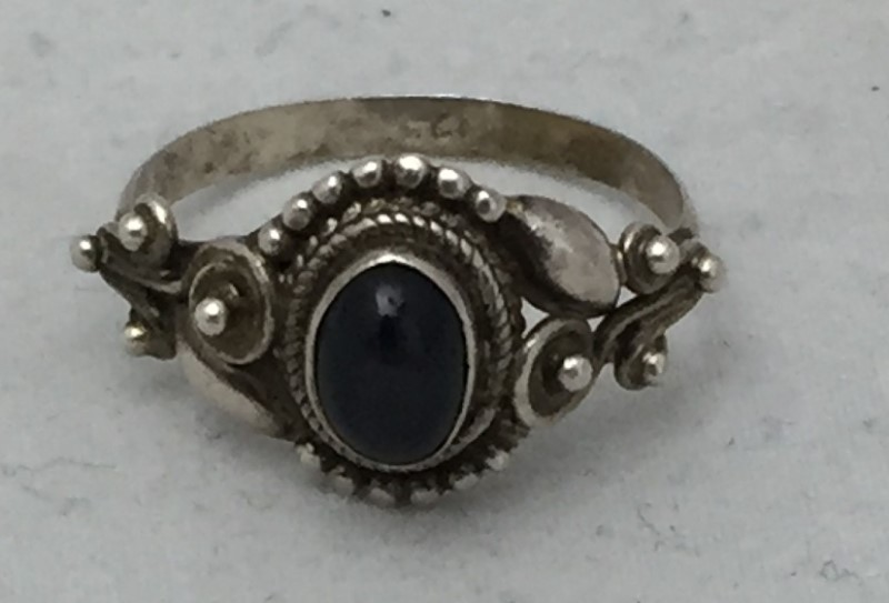 Lady's Sterling Silver Black Star Sapphire Promise Ring Size 7