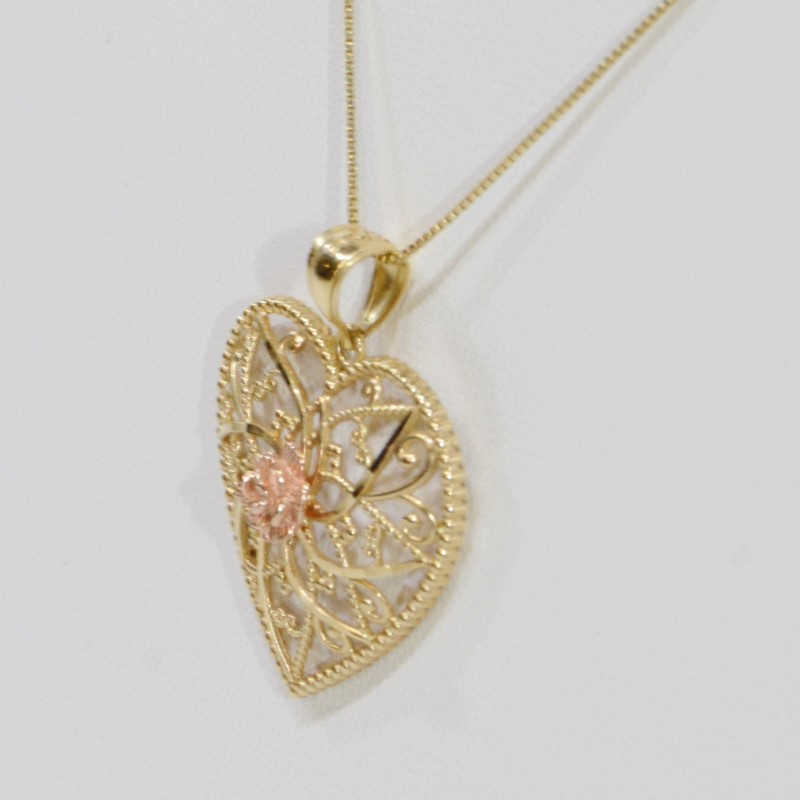 "14K Two-Tone Yellow & Rose Gold Filigree Heart Pendant 18"" Box Chain Fall"