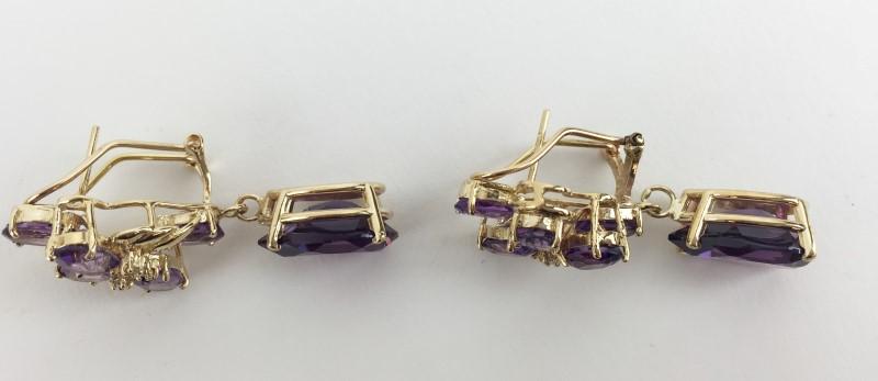 Amethyst Diamond  Earrings 6 Diamonds .12 Carat T.W.