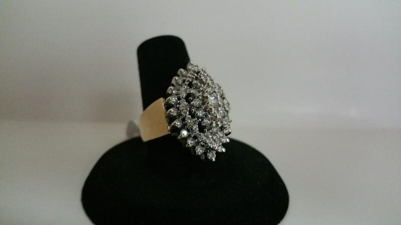 DIAMOND Lady's Diamond Cluster Ring 50 Diamonds 1.00 Carat T.W. 14K Yellow Gold
