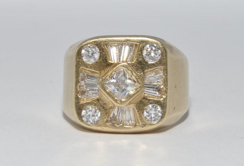 10K Yellow Gold Men's Round, Princess, & Princess CZ Cluster Ring sz 11