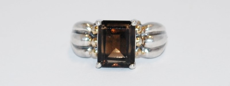 BROWN STONE LADY'S SILVER RING 925 Silver 5.3g Size:5