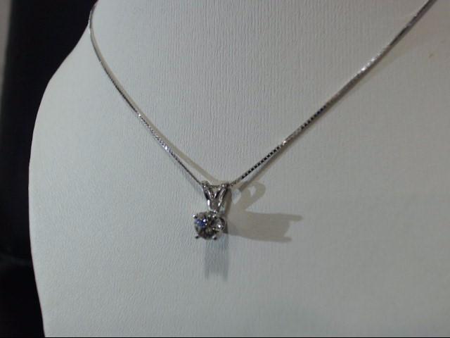 Gold-Diamond Solitaire Pendant .28 CT. 14K White Gold 1.4g