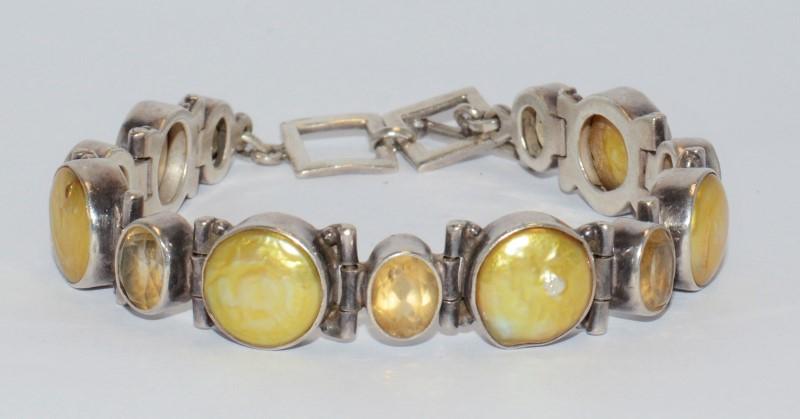 Yellow Beryl Silver-Stone Bracelet 925 Silver 33.15g
