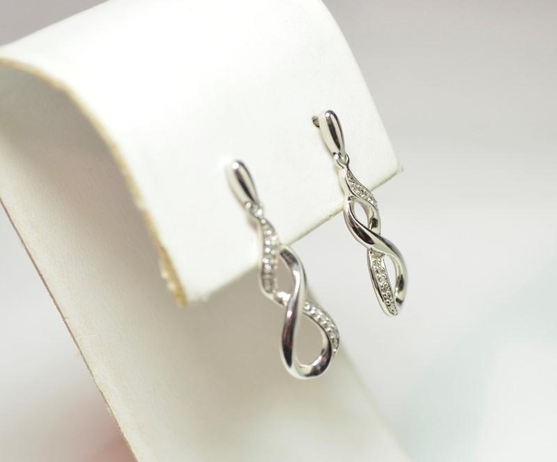 Diamond Enhanced Infinity Drop Silver Earrings .925