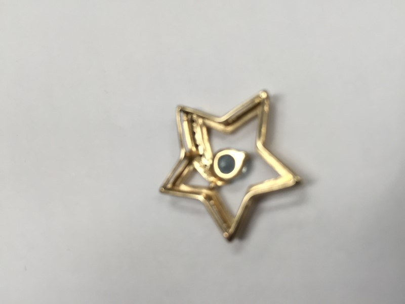 Shooting star Blue Stone Gold-Diamond & Stone Pendant