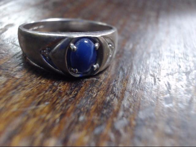 Blue Stone Gent's Stone & Diamond Ring 2 Diamonds .04 Carat T.W. 10K White Gold