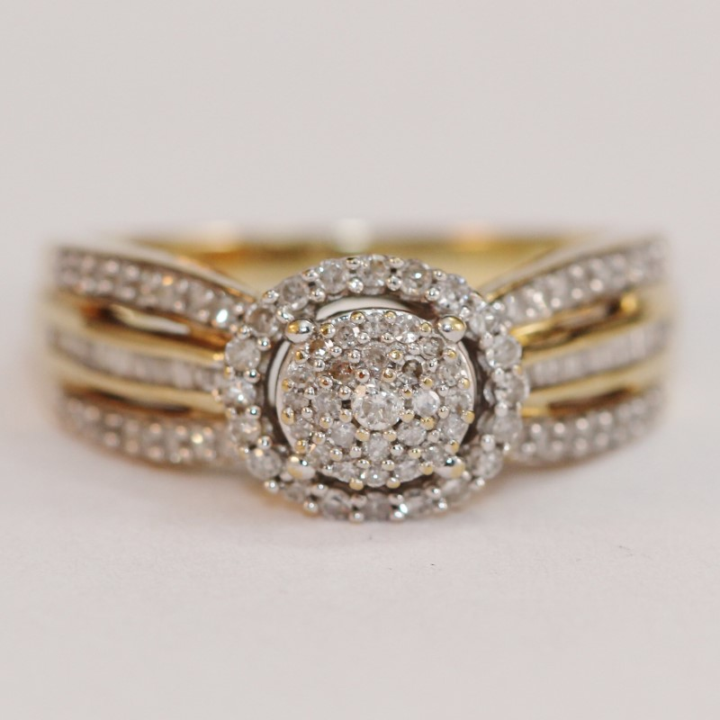 Vintage Inspired 10K Yellow Gold Diamond Cluster Ring Size 6.75