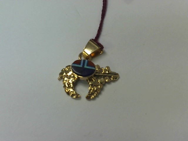 Turquoise Gold-Stone Pendant 14K Yellow Gold 3.5g