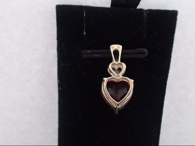 Synthetic Agate Gold-Diamond & Stone Pendant .03 CT. 14K Yellow Gold 1.3g