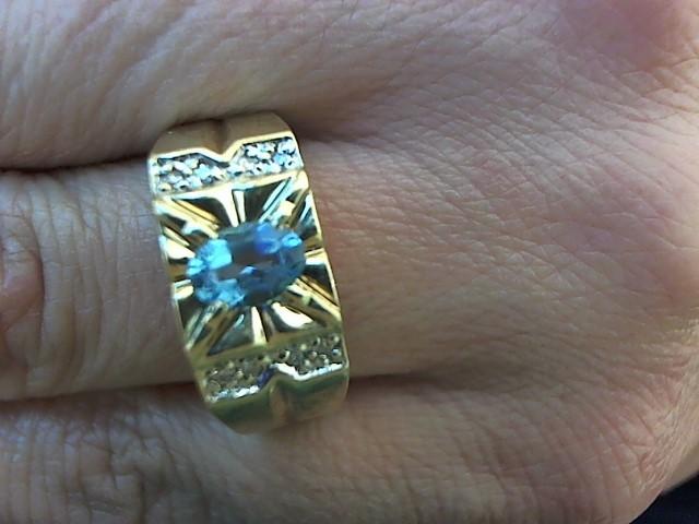 Blue Stone Gent's Stone & Diamond Ring 8 Diamonds .040 Carat T.W.