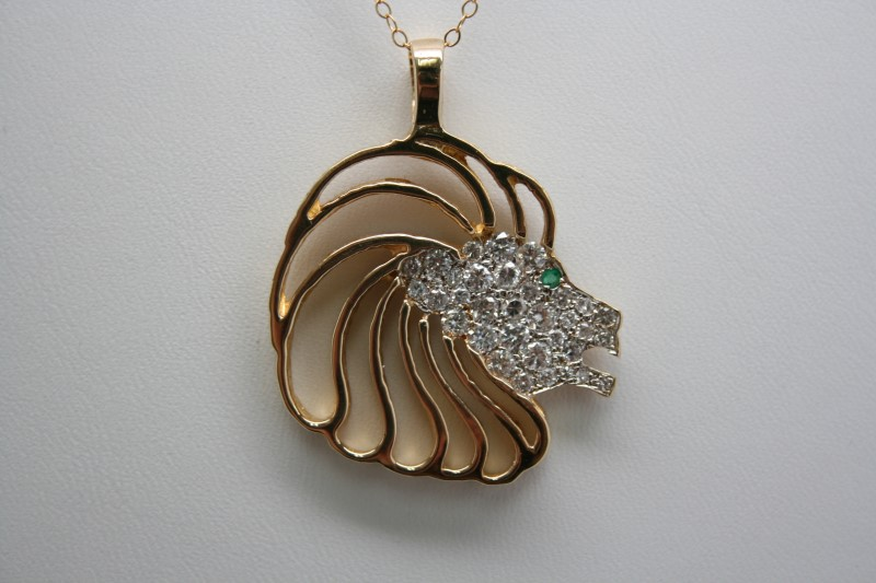 DIAMOND & EMERALD LION HEAD 14K YELLOW GOLD