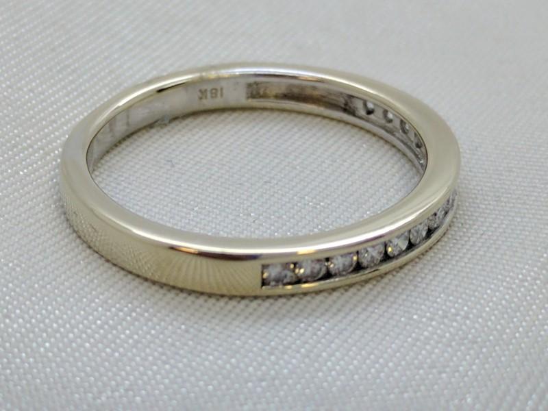 Lady's Gold-Diamond Anniversary Ring 15 Diamonds .45 Carat T.W. 18K White Gold