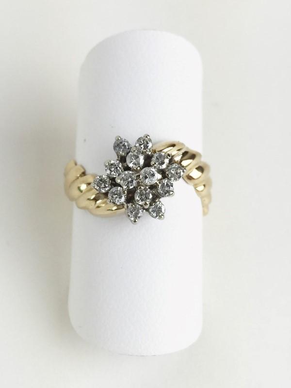 Lady's Diamond Cluster Ring 14 Diamonds .42 Carat T.W. 14K Yellow Gold 5.02g