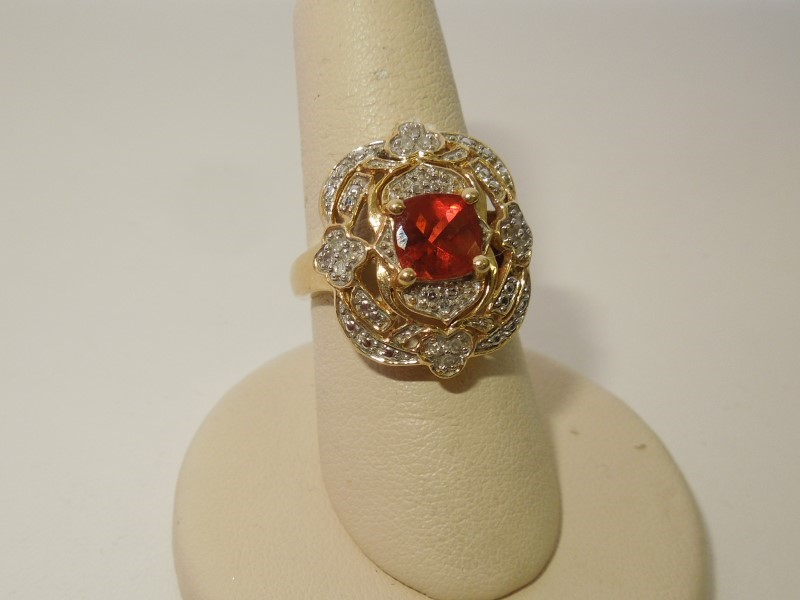 Orange Stone Lady's Stone & Diamond Ring 20 Diamonds .20 Carat T.W.
