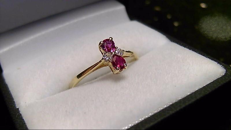 Genuine Ruby Pear Lady's Stone & Diamond 10K Yellow Gold Ring